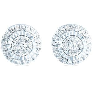 Natural Diamond Cluster 1/4 ct Earrings